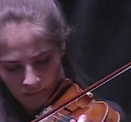 Júlia Pusker (violin) plays Hindemith and Bach during an interlude at HOPE.II